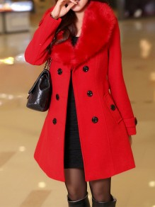 Red Patchwork Buttons Plus Size Fur Collar Going out Wool Coat