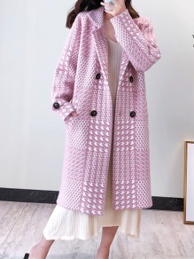 Pink Plaid Buttons Pockets Turndown Collar Going out Wool Coat