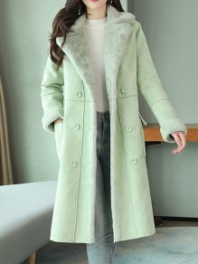Green Patchwork Buttons Pockets Turndown Collar Going out Jacket