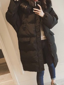 Black Patchwork Zipper Pockets Hooded Fashion Padded Coat