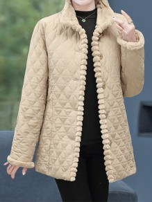 Khaki Patchwork Buttons Plus Size Band Collar Fashion Jacket