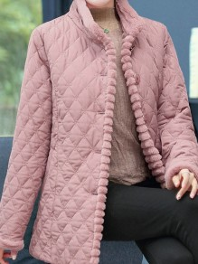 Pink Patchwork Buttons Plus Size Band Collar Fashion Jacket