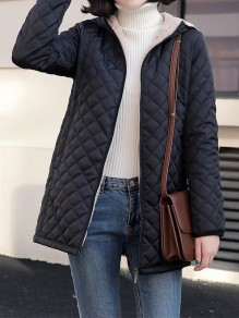 Black Patchwork Zipper Pockets Hooded Fashion Jacket