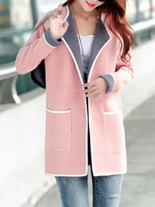 Pink Patchwork Pockets Plus Size Long Sleeve Going out Jacket