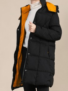 Black Patchwork Zipper Pockets Band Collar Going out Padded Coat