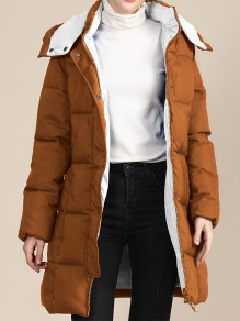 Brown Patchwork Zipper Pockets Band Collar Going out Padded Coat