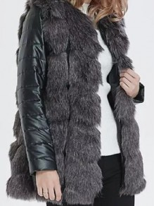 Black Patchwork Plus Size Long Sleeve Streetwear Fur Coat