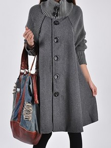 Grey Patchwork Buttons Plus Size Band Collar Going out Wool Coat