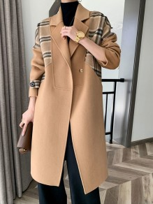Camel Plaid Pockets Turndown Collar Going out Wool Coat
