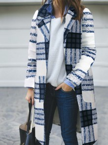 Multicolor Plaid Long Sleeve Turndown Collar Going out Wool Coat