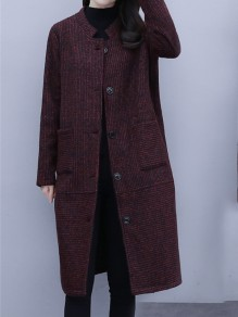 Red Patchwork Buttons Pockets Plus Size Band Collar Going out Coat