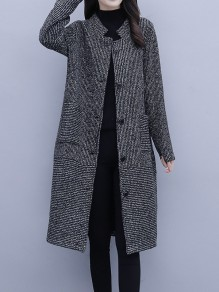 Grey Patchwork Buttons Pockets Plus Size Band Collar Going out Coat