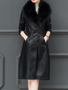 Black Patchwork Zipper Fur Collar Going out Leather Coat