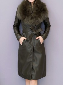 Green Patchwork Zipper Fur Collar Going out Leather Coat