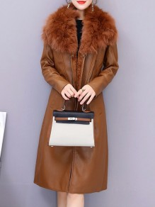 Brown Patchwork Zipper Fur Collar Going out Leather Coat