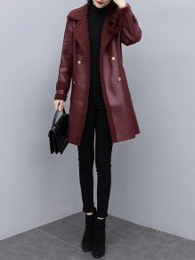 Red Patchwork Pockets Blet Plus Size Turndown Collar Going out Leather Coat