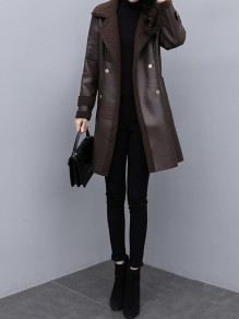 Coffee Patchwork Pockets Blet Plus Size Turndown Collar Going out Leather Coat