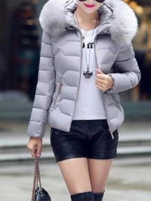 Grey Patchwork Zipper Pockets Hooded Honey Girl Padded Coat