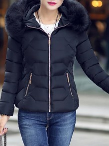 Black Patchwork Zipper Pockets Hooded Honey Girl Padded Coat