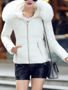 White Patchwork Zipper Pockets Hooded Honey Girl Padded Coat