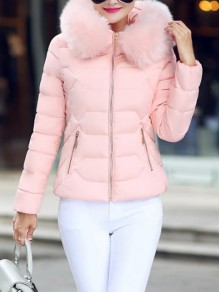 Pink Patchwork Zipper Pockets Hooded Honey Girl Padded Coat