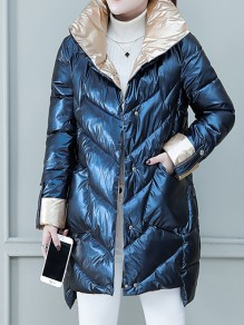 Blue Patchwork Pockets Band Collar Fashion Padded Coat