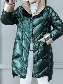Green Patchwork Pockets Band Collar Fashion Padded Coat