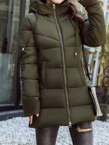 Green Patchwork Zipper Pockets Hooded Fashion Padded Coat