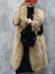 Khaki Patchwork Sleeveless Going out Fur Coat