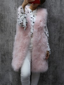 Pink Patchwork Sleeveless Going out Fur Coat