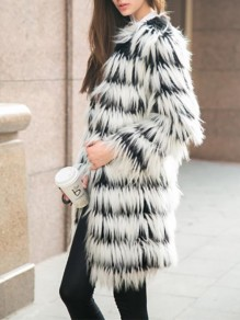 White-Black Striped Long Sleeve Going out Fur Coat