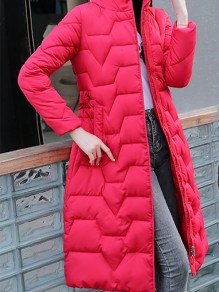 Red Patchwork Zipper Pockets Hooded Going out Padded Coat