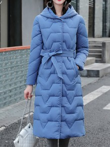 Blue Patchwork Zipper Pockets Hooded Going out Padded Coat