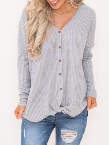 Grey Patchwork Buttons V-neck Streetwear Cardigan Sweater