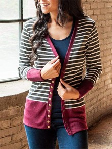 Red Striped Print Long Sleeve Going out Cardigan Sweater