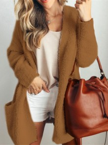 Brown Patchwork Pockets Long Sleeve Fashion Cardigan