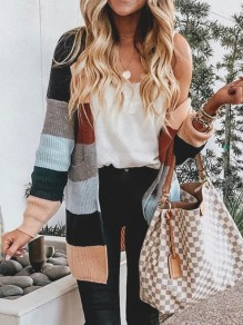 Khaki Patchwork Color Block Pockets Sweet Sweater Cardigan