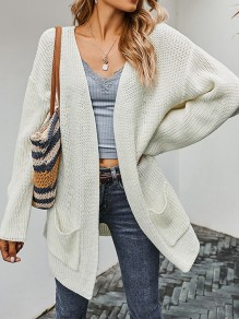 White Solid Color Pockets Fashion Sweater Cardigan
