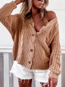 Apricot Buttons V-neck Long Sleeve Fashion Sweaters Cardigan