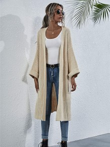Apricot Solid Color Oversize Sweaters Cardigan