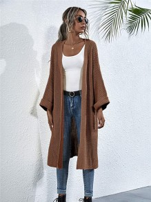 Camel Solid Color Oversize Sweaters Cardigan