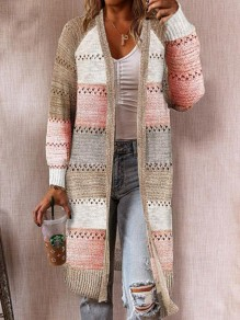 Pink Striped Cut Out Long Sleeve Cardigan Sweater