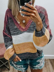Red Patchwork Color Block V-neck Long Sleeve Sweater Pullover