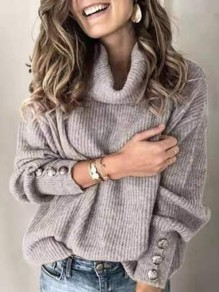 Grey Solid Color Buttons High Neck Fashion Sweaters Pullover