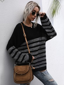 Black Grey Striped Oversize V-neck Sweaters Pullover