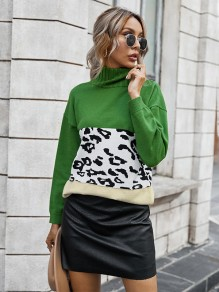 Green Patchwork Leopard High Neck Fashion Sweaters Pullover