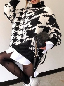 Black White Floral High Neck Fashion Sweaters Pullover