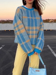 Blue Patchwork Hit Color Round Neck Long Sleeve Vintage Sweater Pullover