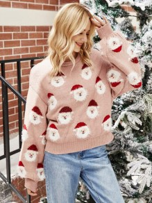 Pink Christmas Santa Claus Round Neck Fashion Sweater Pullover