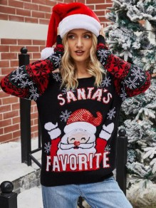Black Floral Christmas Santa Claus Round Neck Fashion Sweater Pullover